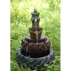 Hi-Line Gift Ltd. Polyresin Tractor Tires with Hand Pump and Bucket Fountain