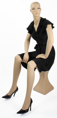 Sitting Mannequin | Female Figure Sits on Pedestal Stand