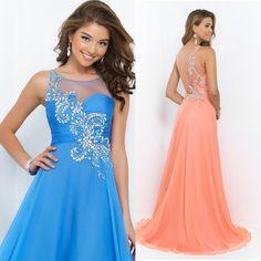 Peach Blue Long Prom Dresses 2015 Crystal Chiffon Tank Graduation Dress Formal Evening Gown Vestido de Festa E6532