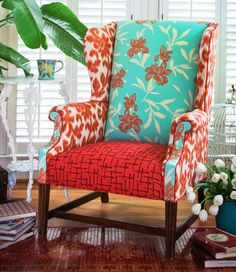 My next project..no I do not upholster furniture!!!!  I do have my limit.  However, I do have one that I am going to recover...getting inspiration.  So far I found the perfect fabric at Hancock's.  Still making sure! Amber Wingback Chair - Redressed vintage with coastal flair. $1,200.00, via Etsy.
