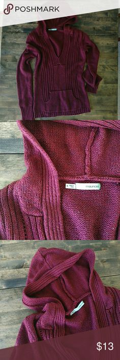Hooded sweater Adorable hooded sweater with kangaroo pocket and low v-neck. 87% acrylic, 7% Polyester, 6% nylon  Very warm, good used condition. Size small. Maurices Sweaters V-Necks