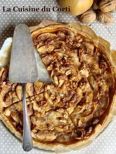 Tarte gourmande aux pommes, caramel et noix