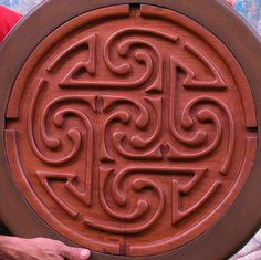Celtic maze carved wood