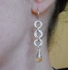 Sterling SIlver and Citrine Chainmaille Earrings.