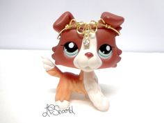 Littlest Pet Shop #1542 Red Brown Tan White Collie Dog blue eye LPS w accessory