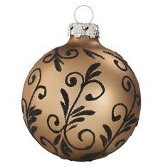 Weihnachtsranken Christbaumkugeln 7cm haselnussbraun handdekoriert