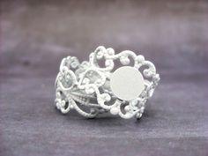10 Filigree Ring Bases  White Adjustable by ShopDogCraftSupplies, $5.00