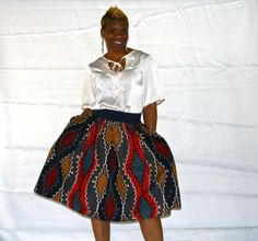 Pleated African Inspired Skirt by BeauJeBoutique on Etsy, $90.00