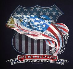 Fishing An American Pastime Souvenir T-Shirt Size 2XL XXL American Flag Fish  #Delta #GraphicTee