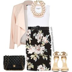 """Plus Size - Work Blazer"" by alexawebb on Polyvore Floral Pencil Skirt, Pencil Skirt Outfits, Coral Skirt, Office Fashion, Work Fashion, Fashion Outfits, Dinner Outfits, Plus Fashion, Curvy Fashion"