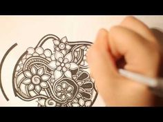 UNBELIEVABLE!! You have to watch her!! Looks like it's being drawn by a computer all of her lines are perfect I love crazy ziggly zaggly doodles that are free flowing too.. but this-this is unbelievable... zentangle video makes me want to go back and watch all 52 weeks of her abstract drawings!