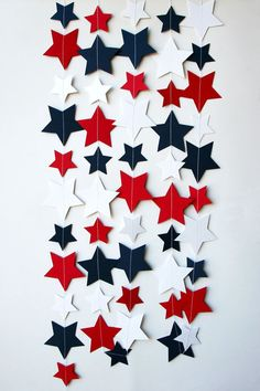 red, white, and blue paper star garland