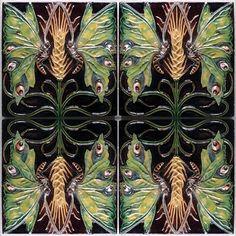 Painel de azulejos com borboletas e espiga de trigo, barro vermelho moldado, 1905. Rafael Bordalo Pinheiro. Fábrica de Faianças das Caldas da Rainha - Museu da Cerâmica