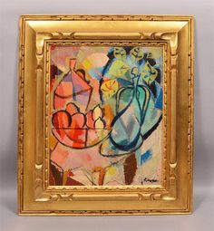 Authentic Abraham Rattner Listed Cubist Modern Art Fruit Still Life Oil Painting #Modernism