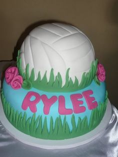 "Volleyball cake! I just need to croos out ""Rylee"" and put Brooke! But I bet Rylee loved the cake! :)"