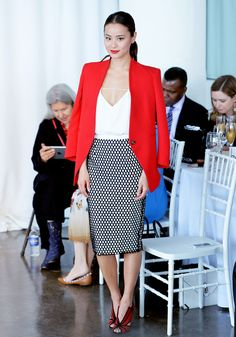 Brighten up any look with a punchy blazer like Jamie Chung // #Fashion #Style