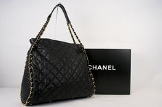 Chanel Quilted Black Leather Tote $2200