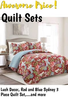 (This is an affiliate pin) Lush Decor, Red and Blue Sydney 3 Piece Quilt Set, King Quilt Sets, King Beds, Luxury Bedding, 3 Piece, Lush, Red And Blue, Sydney, Comforters, Quilts