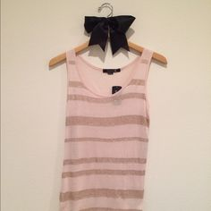 Forever 21 Sequin Striped Tank **NEW WITH TAGS** Soft pink with flesh toned sequins, giving a rose gold effect.  Backside does not have sequins. 100% rayon, hand wash. Forever 21 Tops Tank Tops