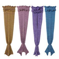New Yarn Knitted Mermaid Tail Baby Kids Blanket Baby Bedding Wrap Soft Warm Swaddling Bed Sofa Swaddling Sleeping Bag