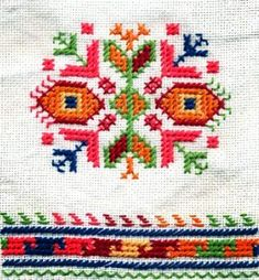 Folk Embroidery Bulgarian embroideries and their symbols - Folklore Creative Embroidery, Folk Embroidery, Hand Embroidery Designs, Cross Stitch Embroidery, Embroidery Patterns, Indian Embroidery, Cross Stitch Love, Cross Stitch Borders, Cross Stitch Patterns