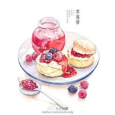 Scones with berries Desserts Drawing, Cute Food Art, Cute Food Drawings, Dessert Illustration, Food Sketch, Watercolor Food, Watercolour, Food Cartoon, Food Wallpaper