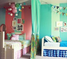 Brother and Sister Shared Room! I love the idea of curtains separating and the sectional colors, still together but different spaces.