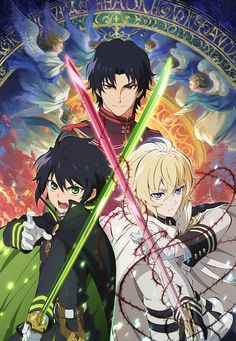 Seraph of the End (終わりのセラフ, Owari no Serafu) is the anime adaptation of the Owari no Seraph manga series. It was announced on August 28, 2014. The anime will run in two split cours (quarters of the year) with 12 episodes each: from April to June and then from October to December. The script for episodes 13-24 will diverge from the manga and be written under Takaya Kagami's supervision. The series premiered on April 4, 2015 on Tokyo MX and on MBS, TV Aichi and BS11.