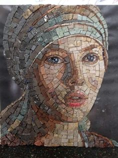 **Mosaic Smalti___ A Face Details** Mosaic Tile Art, Mosaic Artwork, Pebble Mosaic, Mosaic Crafts, Mosaic Projects, Stone Mosaic, Mosaic Glass, Glass Art, Stained Glass