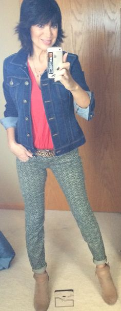 2016 Spring line: Ditsy Skinny jeans and Dolce necklace.  Cabi Lobster red top, denim jacket and Kipling belt.