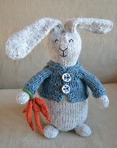 Bunny Love & Extras - stuffed bunny rabbit knitting pattern by Susan B. Anderson.  #Easter #spring