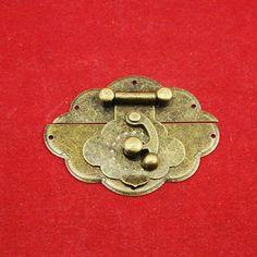 Flower Side Hasp  Ancient Bronze Metal Hidden
