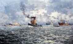 Schilderij van M. de Jongere, haven van Rotterdam