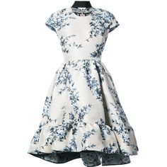 Fendi short-sleeve floral dress (140.555 RUB) ❤ liked on Polyvore featuring dresses, grey, high low dresses, hi low dress, laced up dress, gray dress and high low ruffle dress
