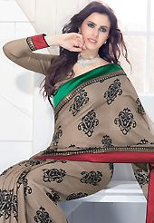The evolution of style species collection spells pure femininity. This dusty light brown art silk saree is nicely designed with block print and embroidered patch work is done with zari and sequins work. This saree gives you a modern and different look in fabulous style. Matching blouse is available. Slight color variations are possible due to differing screen and photograph resolution.