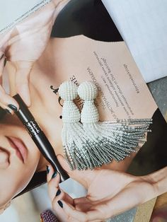 White and silver bridal  tassel earrings round top clips on