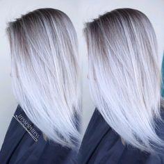 White platinum blonde balayage hair