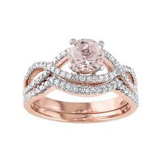 14k Rose Gold Morganite & 1/3 Carat T.W. Diamond Infinity Engagement Ring Set, Pink