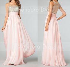 Pink Sheer Prom Dress Long Pink Prom Dress Sheer Beading Prom Dress Long Dress -Custom Made on Etsy, $153.00