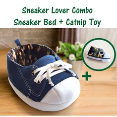 Gift Combo, Sneaker Cat Bed with Matching Catnip Toy, Denim and Camouflage Cat Condo, Cat Furniture, Cat Condo, Gift for Cat and Cat Lover,