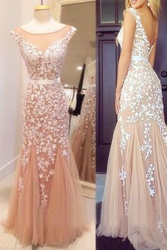 Delicate Mermaid Scoop Neck Cap Sleeve Long Prom Dress With Applique