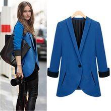 Escudo mujeres Blazer 2015 nueva moda Casual chaqueta de manga larga traje de un solo botón para mujer Blazers OL oficina de trabajo de desgaste(China (Mainland))
