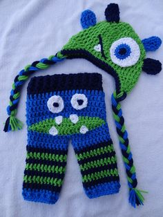Green and Blue Monster set Monster Bottom by PennysCrochetCloset