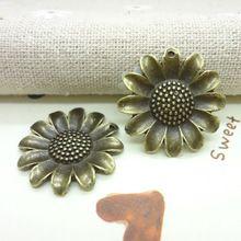 25 шт винтажный подвески-талисманы Sunflower кулон антикварный бронза Fit браслеты ожерелье своими руками металл ювелирные изделия делает(China (Mainland))