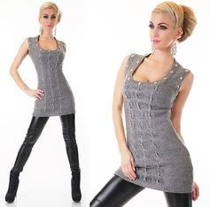 Dámský pletený svetr v šedé barvě bez rukávů. Je delšího střihu a na  předním dílu 819528d672