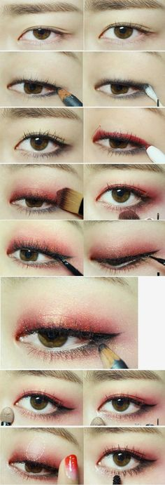 koreanisches Make-up-Tutorial -., koreanisches Make-up-Tutorial -. koreanisches Make-up-Tutorial. Korean Makeup Look, Korean Makeup Tips, Korean Makeup Tutorials, Korean Beauty, Red Eye Makeup, Makeup Eyeshadow, Eyeshadow Palette, Hair Makeup, Sparkle Eyeshadow