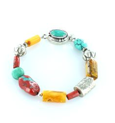 TIBETAN TURQUOISE AMBER CORAL STERLING SILVER BRACELET from New World Gems