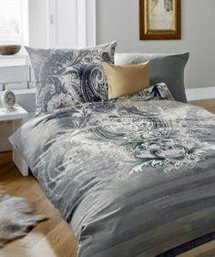 Auch graue Bettwäsche aus kuschelig weichem Edel-Biber paßt wunderbar in  den Schwarz-Weiß