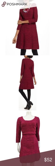 """Sparrow Anthropologie Vinifera Sweater Dress Sparrow Anthro Vinifera Sweater Dress, Size Medium, Anthropologie, Raspberry/Wine color, Pullover style, Sweater dress. A-line cut, 3/4 sleeve. Lambswool, cotton, viscose, nylon and angora material, Length 36"""", Bust around 19"""", NWOT Anthropologie Dresses"""