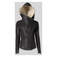 Helmut Lang Weathered Shearling Jacket found on Polyvore featuring polyvore, women's fashion, clothing, outerwear, jackets, helmut lang, shearling jacket and helmut lang jacket